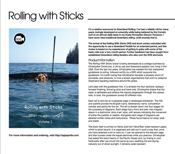 Ocean Paddler Magazine – Rolling with Sticks