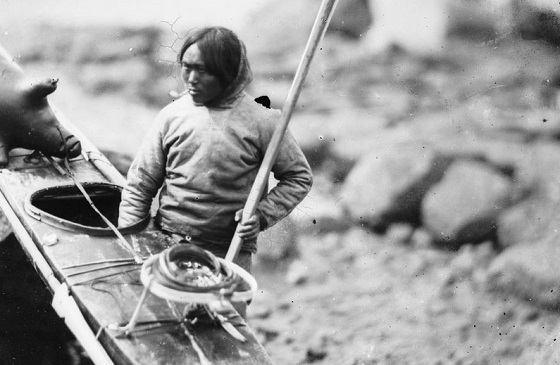 Inuit Hunter with kayak
